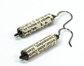 Paper Bead Jewelry- Vintage English Dictionary Jewelry, Upcycled Paper Bead Earrings, Paper Jewelry, Book Lover Gift, Word Earrings