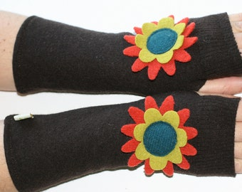 Girly Fingerless Gloves - from recycled sweaters- brown with orange, teal felted wool flowers