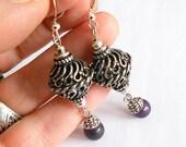 Gypsy earrings, Silver and purple agate earrings, gift ideas, drop earrings, bohemian jewelry