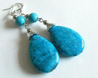 Statement earrings, blue agate earrings,  Boho chic long earrings, gemstone dangle earrings, boho jewelry, statement jewelry, blue jewelry