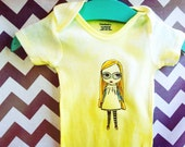 Hand dyed yellow ombré Baby 3-6 month Blythe doll Transfer Onesie
