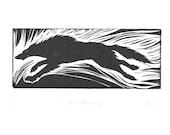 Wolf Art, Linocut Relief Print, Running Wolf, Original Art