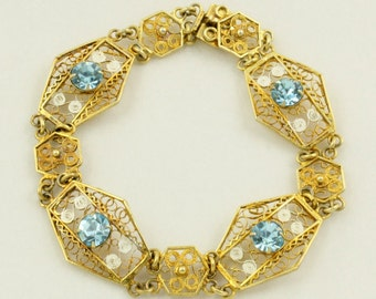 Art Deco Gold Filigree Bracelet Gold Filled Bracelet 800 Silver Blue Rhinestone Filigree Geometric Bracelet Lace Filigree Vintage Filigree