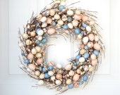 Easter Egg Wreath with pip berries - peach, blue and cream pastel eggs - spring front door decoration - laurelsbylaurie