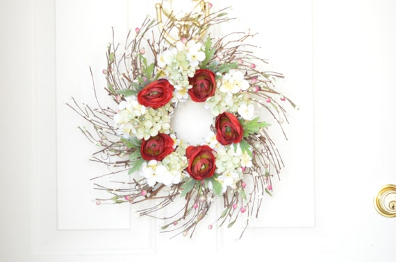 Red and Cream Silk Floral Wreath - Summer Decoration - Front door decor