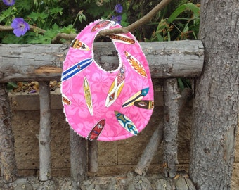 Pink surfer girl aloha print bib
