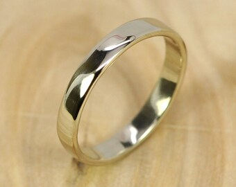 14K Palladium White Gold Band, 3mm Smooth Texture Wedding Ring, any size available, Sea Babe Jewelry