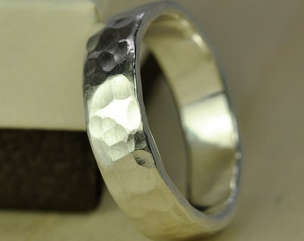 Recycled Silver Ring, Wide Chunky Mens Afffordable Wedding Band option, Hammered Matte, 5.5mm Pure Silver Eco Friendly, Sea Babe Jewelry