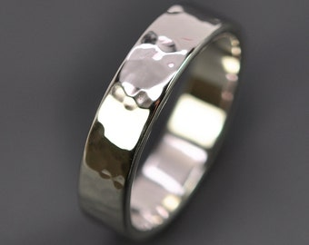 Men's Band, Hammered 14K White Gold Wedding Ring, Palladium White Gold Ring, 5mm wide, Eco Friendly, Sea Babe Jewelry