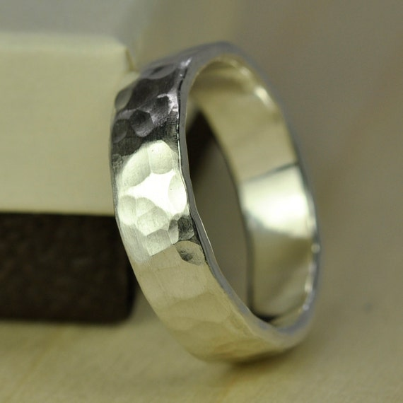 recycled silver ring wide chunky mens afffordable wedding