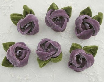 2 pc Grape Velvet Rose Flower Baby Bow w leaves leaf for bridal couture corsage headband home decor