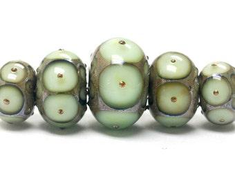 Five Moss Green w/Metal Dots Graduated Rondelle Beads - Handmade Glass Lampwork Beads - 10504911