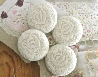 Handmade Large Victorian Style Wedding Off White Floral Flower Lace Fabric Covered Buttons, Wedding Fridge Magnets, 1.5 Inches 4's