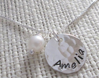 Hand Stamped Mommy Necklace - One - personalized mothers necklace with pearl - Personalized Necklace - Name Necklace