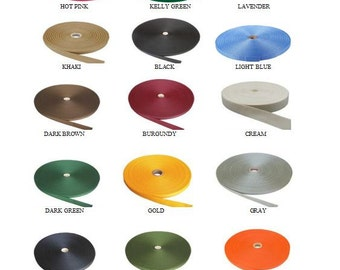"50 Yards Light-Medium Weight 1"" Polypropylene Webbing - Mix and Match 25 COLORS"