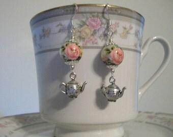 Tea and Roses Earrings for Tea Time