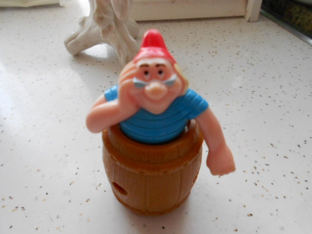 Vintage Peter Pans Mr Smee In A Barrel Toy Figurine