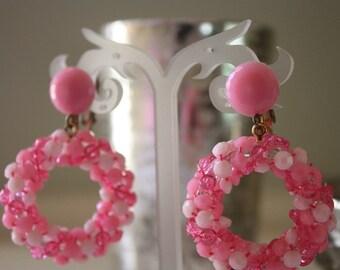 Vintage Pink Beaded Clip On Earrings
