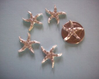 Tiny Starfish (7) Silverplate with Rhinestones,Beach Wedding, Flatbacks