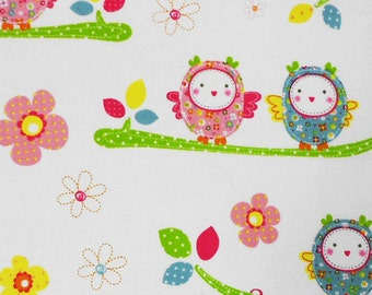 Cute Little Owls on a Branch Fabric By The Yard