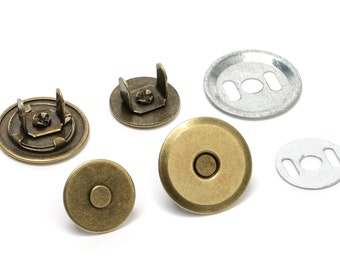 100pcs UFO Magnetic Purse Snaps 18mm - Antique Brass - (MAGNET SNAP Mag-178) - Free Shipping