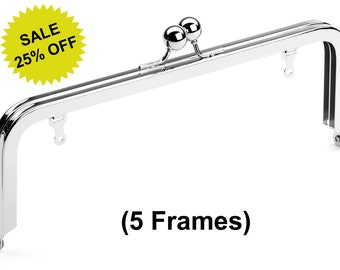"""5pcs - 8"""" x 3"""" Nickel Purse Frame with Large Ball Clasp and Chain Loops - Free Shipping (PURSE FRAME FRM-112)"""