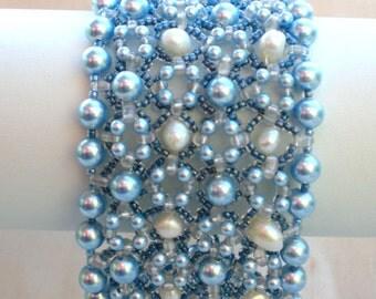 Rivoli Beadwoven Blue Pearl Cuff  Bracelet Unique  Beaded Beadwork Beadweaving Jewelry Ocean Blue