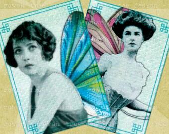 COLLAGED FAIRIES Digital Collage Sheet 2.5x3.5in Victorian Edwardian - no. 0003