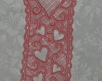 """Machine embroidered Lace Heart Bookmark, Pink 5 1/4"""" x 1 5/8"""""""
