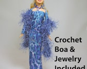 OOAK Blue Animal Print Barbie Evening Dress with matching Shrug, Boa, Capelet,  and Jewelry