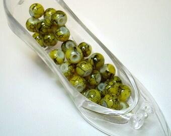 Yellow with Black Splash Round Glass Beads (Qty 35) - B1634