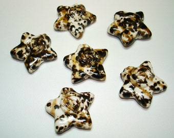 White with Tan Speckled Glazed Porcelain Star Beads (Qty 6) - B1689