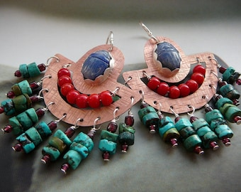Cleopatra  scarab chandelier earrings - copper, fine silver, red coral, sodalite and turquoise