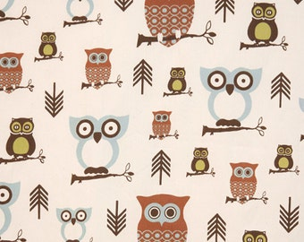 "Hooty Village Owls Natural | Cotton Twill fabric 54"" width 