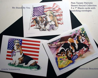 Basset Hound Patriotic 3 card Collection by Pam Tanzey