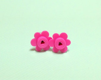 LEGO® Bricks Pink Flower Earring Studs