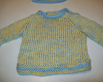 Baby Sweater, Blue and Yellow Baby Pullover Sweater and Matching Hat, Gift for Baby, Gift for New Mom by hipknitta