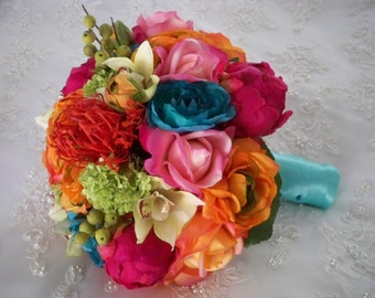 Real touch Rose Orchid and Silk Florals Tropical Beach Bridal Bouquet Set