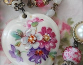 French Porcelain-antique french porcelain hand painted heart assemblage necklace