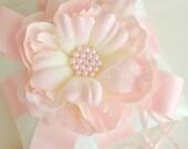 Pink Ring Bearer Pillow - Flower Ring Bearer Pillow - Ivory Silk Dupioni - READY TO SHIP