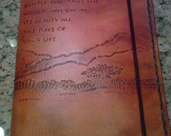 Hand Carved Serengeti Scene Leather Journal