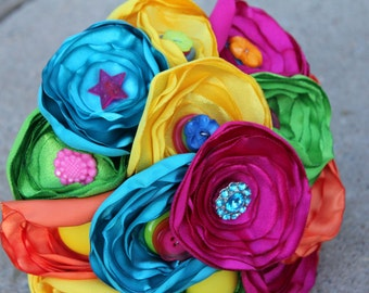 Neon Satin and Button Bouquet