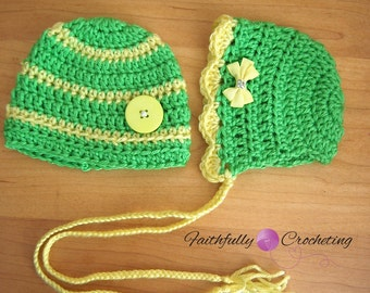Newborn Twin Hats... Photography prop... Ready to ship... Yellow and Green set