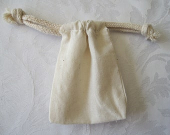 15 Muslin Bags, Drawstring Bags, Cotton Bags, Gift Bags, Jewelry Bags, Wedding Favor Bags, Sachet Bag, Fabric Bags 3x4