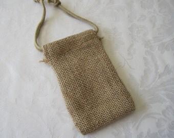 10 Burlap Bags, Drawstring Bags, Jute Bags, Gift Bags, Favor Bags, Jewelry Bags, Fabric Bags, Drawstring Pouch, Rustic Wedding 3x5