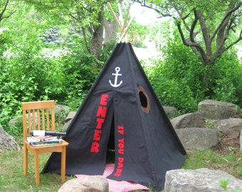 Teepee, Kids Tent, Canvas, 6 Foot Poles, Pirate Hideou