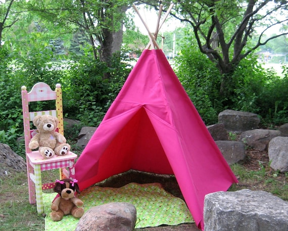 Canvas Kids Tent, Teepee, Tipi, Ready to Ship in Hot Pink, or Choose from 14 colors, Large and Durable, 6 Foot Poles Included, Save 10%