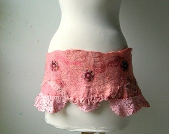 Felted Hip Belt or Scarflette Shabby Chic Mauve