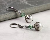White Pearl Earrings Green Crystal Gray Wedding Jewelry Prom Fashion Earrings Mothers Day Jewelry