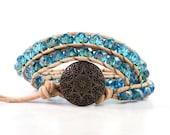 Teal Blue Leather Wrap Bracelet Tan Suede Rustic Hippie Bohemian Bracelet Triple Wrap Boho Jewelry Fall Wrap Bracelet